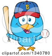 Clipart Of A Cartoon Blue Bird Holding A Baseball And Bat Royalty Free Vector Illustration by Hit Toon