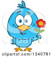 Clipart Of A Cartoon Blue Bird Holding A Flower Royalty Free Vector Illustration by Hit Toon