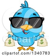 Clipart Of A Cartoon Blue Bird Wearing Sunglasses And Holding Money Bags Royalty Free Vector Illustration by Hit Toon