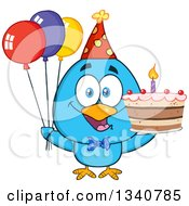 Clipart Of A Cartoon Blue Bird Wearing A Party Hat And Holding Balloons And A Birthday Cake Royalty Free Vector Illustration by Hit Toon