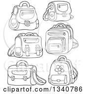 Lineart Clipart Of Cartoon Black And White School Bags Royalty Free Outline Vector Illustration