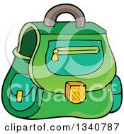 Poster, Art Print Of Cartoon Green School Bag