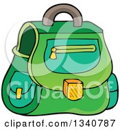 Clipart Of A Cartoon Green School Bag Royalty Free Vector Illustration by visekart