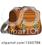 Clipart Of A Cartoon Brown School Bag Royalty Free Vector Illustration by visekart