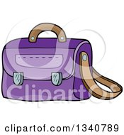 Clipart Of A Cartoon Purple School Bag Royalty Free Vector Illustration by visekart