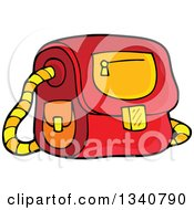 Clipart Of A Cartoon Red School Bag Royalty Free Vector Illustration by visekart