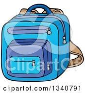 Poster, Art Print Of Cartoon Blue School Backpack Bag