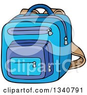 Clipart Of A Cartoon Blue School Backpack Bag Royalty Free Vector Illustration by visekart