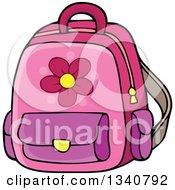 Poster, Art Print Of Cartoon Pink School Backpack Bag