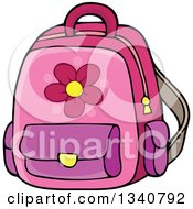 Clipart Of A Cartoon Pink School Backpack Bag Royalty Free Vector Illustration by visekart