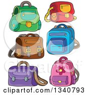 Clipart Of Cartoon School Bags Royalty Free Vector Illustration by visekart