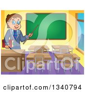 Clipart Of A Cartoon Brunette White Male Teacher With Glasses Holding A Book And Pointer Stick By A Chalk Board In A Classroom Royalty Free Vector Illustration
