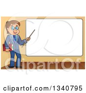 Clipart Of A Cartoon Brunette White Male Teacher With Glasses Holding A Book And Pointer Stick By A White Board Royalty Free Vector Illustration