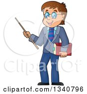Clipart Of A Cartoon Brunette White Male Teacher With Glasses Holding A Book And Pointer Stick Royalty Free Vector Illustration