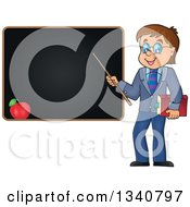 Clipart Of A Cartoon Brunette White Male Teacher With Glasses Holding A Book And Pointer Stick By A Black Board Royalty Free Vector Illustration