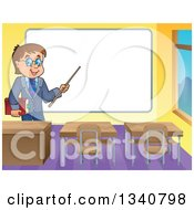 Clipart Of A Cartoon Brunette White Male Teacher With Glasses Holding A Book And Pointer Stick By A White Board In A Classroom Royalty Free Vector Illustration