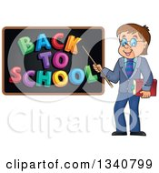 Clipart Of A Cartoon Brunette White Male Teacher With Glasses Holding A Book And Pointer Stick To A Back To School Black Board Royalty Free Vector Illustration