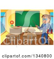 Clipart Of A Cartoon Brunette White Male Teacher With Glasses Holding A Book And Pointer Stick By A Chalk Board In A Class Room Royalty Free Vector Illustration