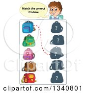 Clipart Of A Cartoon Brunette White Male Teacher Over A Backpack Match Game Royalty Free Vector Illustration by visekart