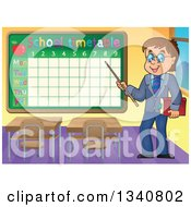 Clipart Of A Cartoon Brunette White Male Teacher With Glasses Holding A Book And Pointer Stick To A Back To Time Table In A Class Room Royalty Free Vector Illustration by visekart