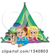 Clipart Of A Cartoon Caucasian Dog Boy And Girl Resting In A Tent While Camping Royalty Free Vector Illustration