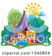 Cartoon Caucasian Dog Boy And Girl Resting In A Tent While Camping With A Happy Sun