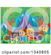 Cartoon Caucasian Dog Boy And Girl Resting In A Tent While Camping In A Park