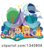 Clipart Of A Cartoon Caucasian Dog Boy And Girl Resting In A Tent While Camping With A Campfire And Happy Moon Royalty Free Vector Illustration
