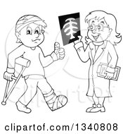 Lineart Clipart Of A Cartoon Black And White Female Doctor Showing A Patient A Grayscale Xray Royalty Free Outline Vector Illustration by visekart