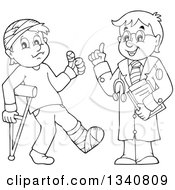 Lineart Clipart Of A Cartoon Black And White Male Doctor And Injured Patient Royalty Free Outline Vector Illustration by visekart