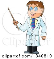 Clipart Of A Cartoon Caucasian Male Doctor Holding A Pointer Stick Royalty Free Vector Illustration