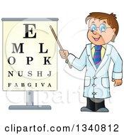 Cartoon Caucasian Male Doctor Optometrist By An Eye Chart