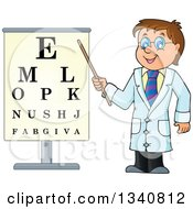 Clipart Of A Cartoon Caucasian Male Doctor Optometrist By An Eye Chart Royalty Free Vector Illustration