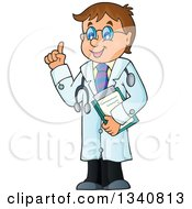 Clipart Of A Cartoon Caucasian Male Doctor Holding Up A Finger Royalty Free Vector Illustration
