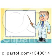 Clipart Of A Cartoon Caucasian Male Doctor Holding A Pointer Stick By A Blank White Board Royalty Free Vector Illustration