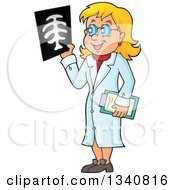Cartoon Caucasian Female Doctor Holding An Xray