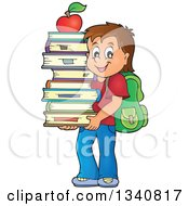 Cartoon Brunette Caucasian School Boy Carrying A Stack Of Books With An Apple On Top