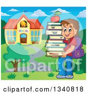 Clipart Of A Cartoon Brunette Caucasian Boy Carrying A Stack Of Books With An Apple On Top By A School Building Royalty Free Vector Illustration