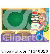 Clipart Of A Cartoon Brunette Caucasian Boy Carrying A Stack Of Books With An Apple On Top In A Class Room With A Blank Chalk Board Royalty Free Vector Illustration