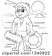 Lineart Clipart Of A Cartoon Grayscale Male Lifeguard Royalty Free Outline Vector Illustration by visekart