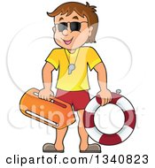 Clipart Of A Cartoon Caucasian Male Lifeguard Royalty Free Vector Illustration