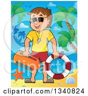 Clipart Of A Cartoon Caucasian Male Lifeguard On A Tropical Beach Royalty Free Vector Illustration by visekart