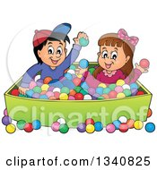 Cartoon Hispanic Boy And White Girl Playing In A Ball Pit
