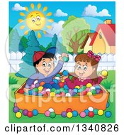 Clipart Of A Cartoon Hispanic Boy And White Girl Playing In A Ball Pit In A Yard Royalty Free Vector Illustration by visekart