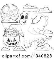 Lineart Clipart Of A Cartoon Black And White Happy Halloween Ghost With A Pumpkin Basket Of Candy Over A Moon And Clouds Royalty Free Outline Vector Illustration