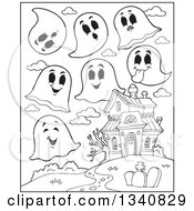 Lineart Clipart Of A Cartoon Black And White Halloween Haunted House With Ghosts Royalty Free Outline Vector Illustration