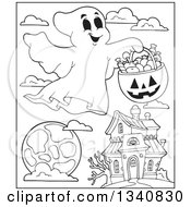 Lineart Clipart Of A Cartoon Black And White Happy Halloween Ghost With A Pumpkin Basket Of Candy Over A Moon And Haunted House Royalty Free Outline Vector Illustration