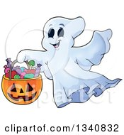 Clipart Of A Cartoon Happy Halloween Ghost With A Pumpkin Basket Of Candy Royalty Free Vector Illustration by visekart