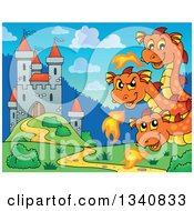 Clipart Of A Cartoon Cute Orange Fire Breathing Three Headed Dragon By A Castle Royalty Free Vector Illustration