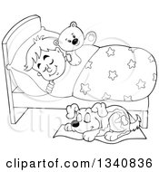 Lineart Clipart Of A Cartoon Black And White Dog Sleeping By A Boy In Bed With A Teddy Bear Royalty Free Outline Vector Illustration by visekart